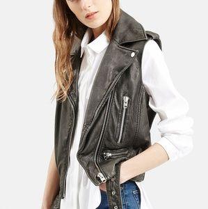 NEW Topshop Sylvia Leather Biker Vest Black